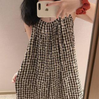 Sadelle - 格子花朵印花細肩帶直身連衣中裙
