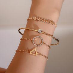 B.muse - Set of 4: Alloy / Rhinestone  Bracelet / Bangle (assorted designs)