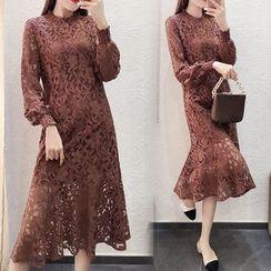 Ashlee - Long-Sleeve Lace Midi Dress