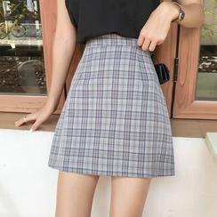 Shopherd - Plaid A-Line Mini Skirt