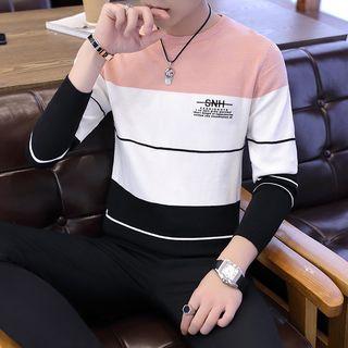 Costado - Lettering Color Block Stripe Long-Sleeve Knit Top