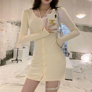 Tidel - Rhinestone Halter-Neck Knit Mini Bodycon Dress