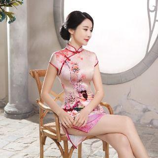 Golden Flowers - Cap Sleeve Printed Cheongsam
