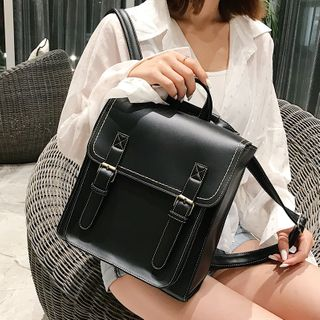 Hydracinthe - Contrast Stitching Faux Leather Backpack