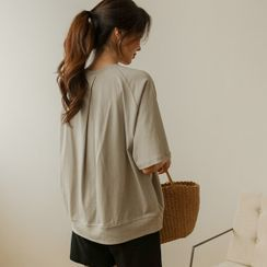 JUSTONE - Elbow-Sleeve Invert-Pleat T-Shirt