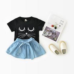 Cen2ury - 小童蝴蝶結裝飾牛仔裙