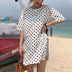 Fashion Street - Elbow-Sleeve Polka Dot Slit Mini T-Shirt Dress