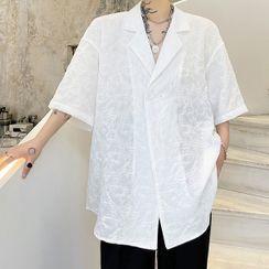 ANCHO - Floral Pattern Sheer Short-Sleeve Blazer