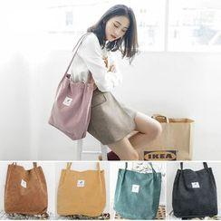 Shinshine - Lettering Corduroy Tote Bag