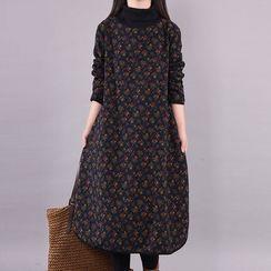 Planetary - Long-Sleeve Mock-Neck Floral Print Midi A-Line Dress