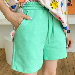 DISCOSALON - Drawstring-Waist Neon Shorts