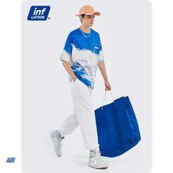 Newin - 蓝天白云印花宽松短袖T恤