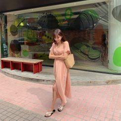 CHERRYKOKO - Mandarin-Collar Long Shirtdress