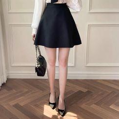 MyFiona - Inset Shorts Flared Miniskirt