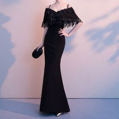 Munchin - Cold-Shoulder Sheath Evening Gown