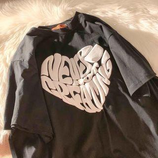 CRIBI - Elbow-Sleeve Lettering Heart T-Shirt