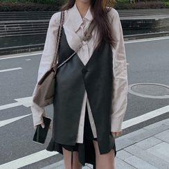 Dute - Plain Shirt / Spaghetti Strap Faux Leather Buttoned Mini Dress