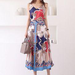 Yilda - Set: Print Panel Camisole Top + Midi A-Line Skirt