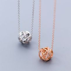 A'ROCH - 925 Sterling Silver Caged Rhinestone Pendant Necklace
