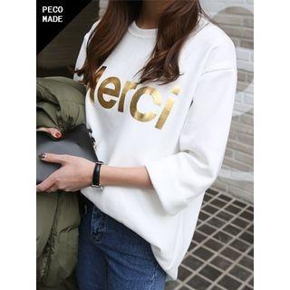 hellopeco - 3/4-Sleeve Láme-Lettering Fleece-Lined T-Shirt