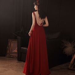 OOMEI - Sleeveless Faux Pearl Strap A-Line Evening Gown