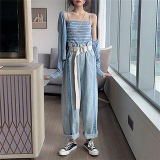 Fabricino - Set: Paneled Washed Wide Leg Jeans + Belt