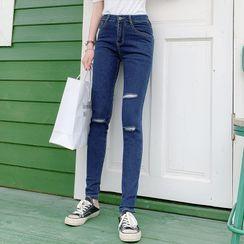 Thous - 做旧窄身九分牛仔裤