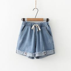 PANDAGO - Rabbit Embroidery Denim Shorts