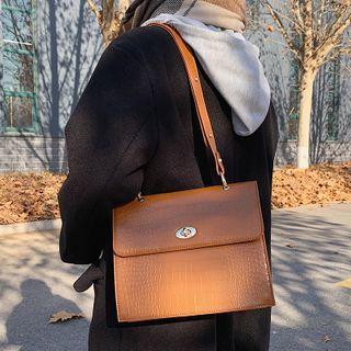 Studio Sophista - Croc Grain Faux Leather Crossbody Bag
