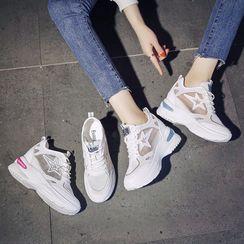 Sleeko - 透氣厚底內增高休閒鞋