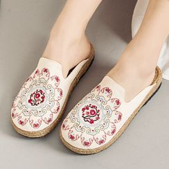 Kyotopia - Floral Embroidered Flat Mules