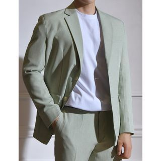 STYLEMAN - Single-Breasted Pastel-Color Blazer