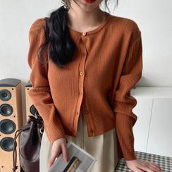 MERONGSHOP - Drop-Shoulder Rib-Knit Cardigan