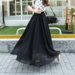 Cherry Dress - Double Layered A-Line Maxi Skirt
