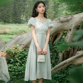 Glaypio - Puff-Sleeve Midi A-Line Dress
