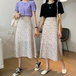Dreamkura - Floral Print Midi A-Line Skirt
