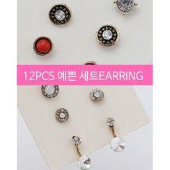 Miss21 Korea - Antique Set: Ear Stud (10 PCS) + Ear Jacket (2 PCS)