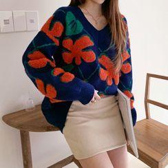 DEEPNY - V-Neck Bouclé-Flower Sweater