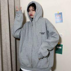 Werwind - Lettering Print Hooded Zip Jacket