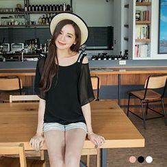 OrangeBear - Mock Two Piece Lace Sequined Chiffon Top