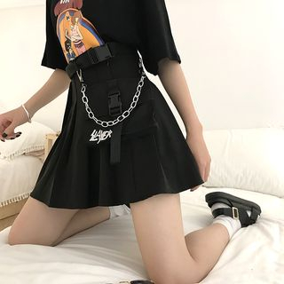 Tangan - Buckles and Chain Pleated Mini Skirt