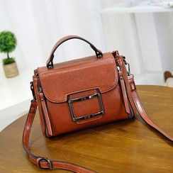 AGLORE - Buckled Genuine Leather Crossbody Bag