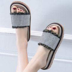 Weiya - Fray Hem Platform Slide Sandals