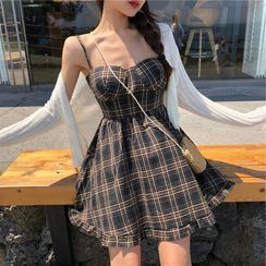 Yuxi - Plaid Spaghetti Strap A-Line Dress