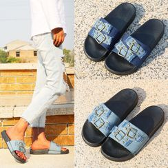 Shoeland(シューランド) - Denim Platform Buckled Sandals