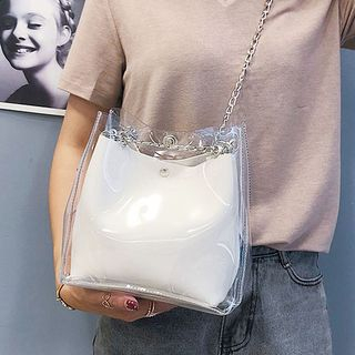 sunsquared - Transparent Chained Shoulder Bag with Pouch