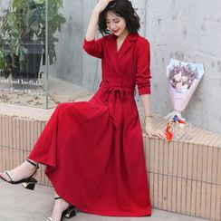 Romantica - 双排扣长A字大衣连衣裙