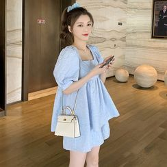 Hiccup - Maternity Set: Puff-Sleeve Square-Neck Blouse + Shorts