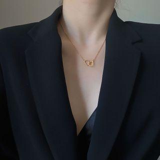 Gold Beam - Interlocking Heart Pendant Alloy Necklace