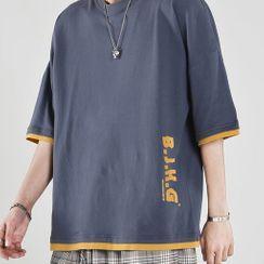 Sister Fleur - Elbow-Sleeve Lettering T-Shirt